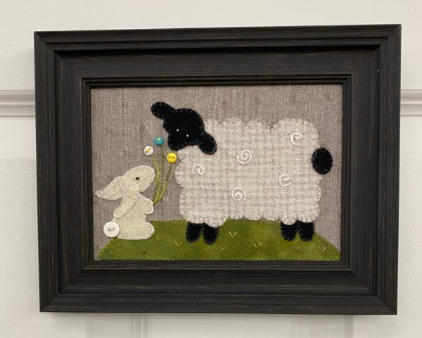 Lamb and Bunny Wool Applique Image